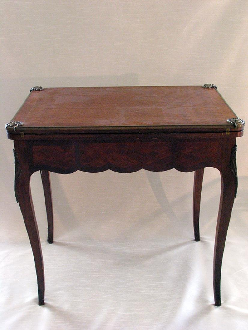 French Parquetry Flip top Game Table with Bronze Mounts - 2