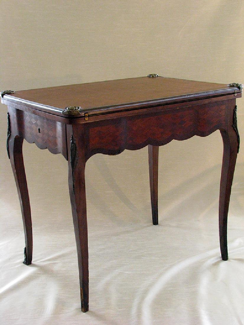 French Parquetry Flip top Game Table with Bronze Mounts - 3
