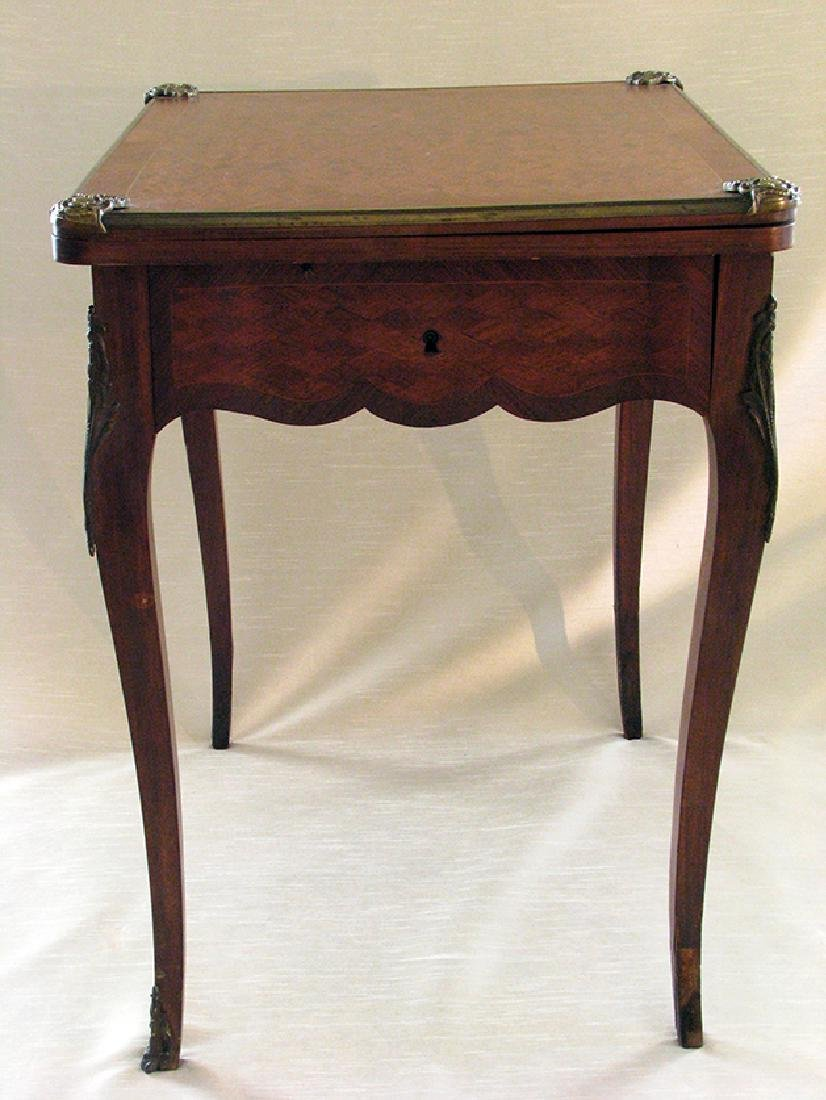 French Parquetry Flip top Game Table with Bronze Mounts - 4