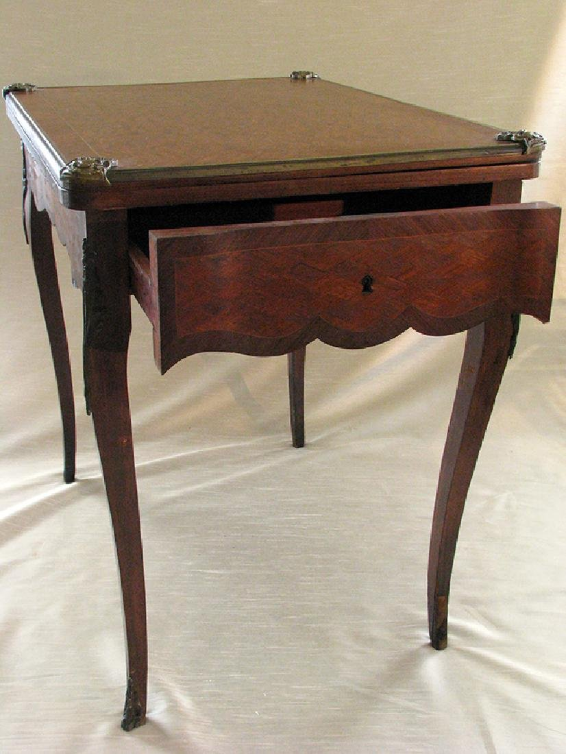 French Parquetry Flip top Game Table with Bronze Mounts - 5