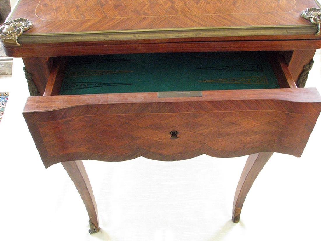 French Parquetry Flip top Game Table with Bronze Mounts - 6