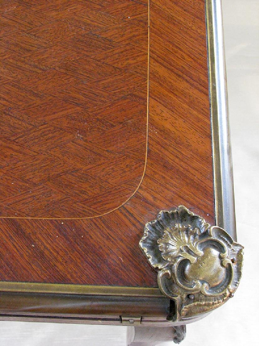 French Parquetry Flip top Game Table with Bronze Mounts - 9