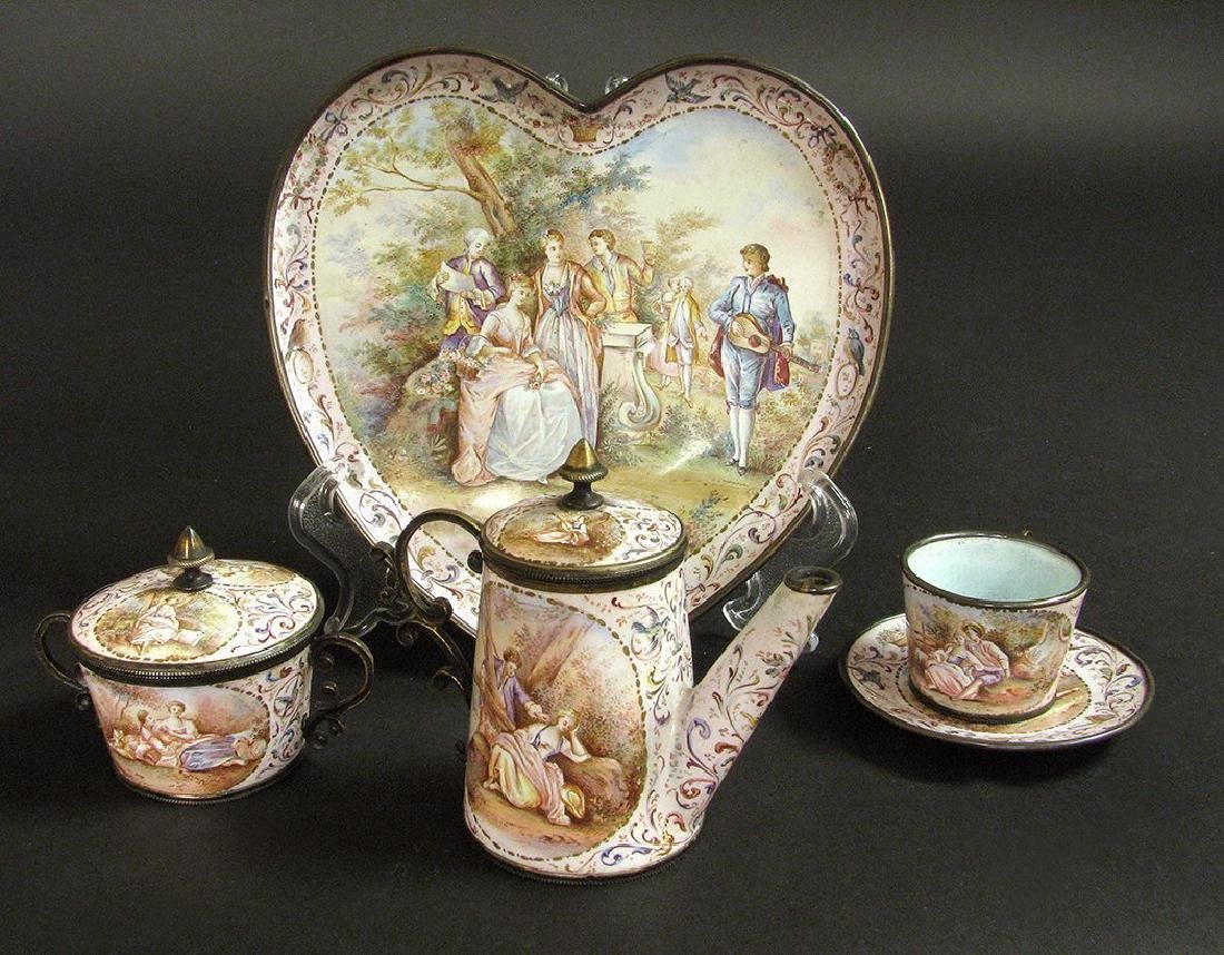 19th C. Viennese Enamel on Silver Miniature Tea Set