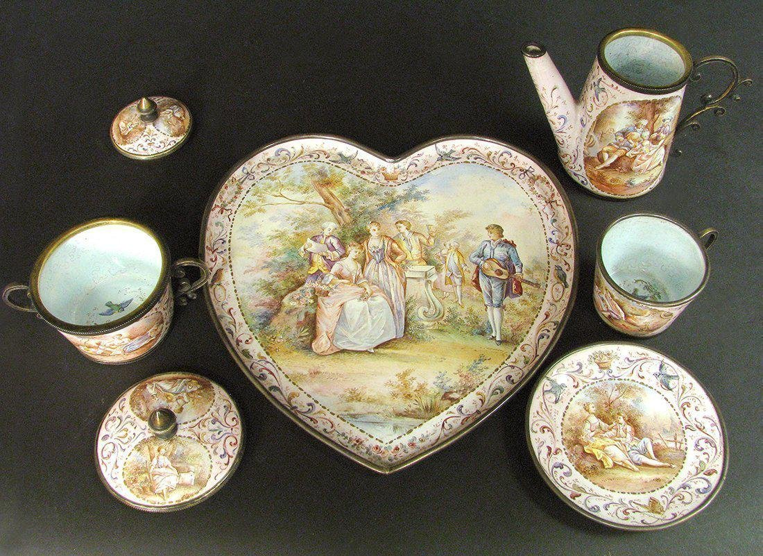19th C. Viennese Enamel on Silver Miniature Tea Set - 2
