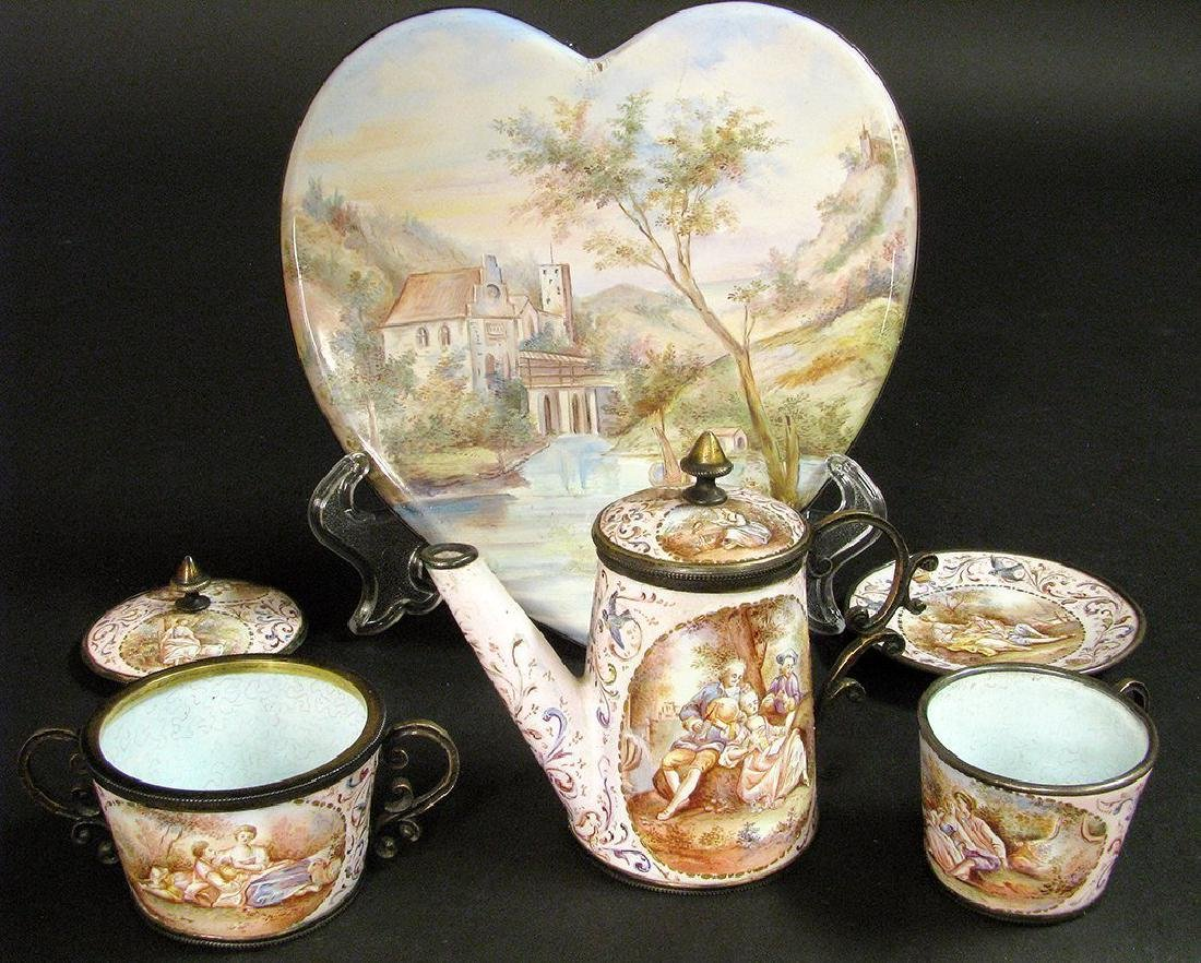 19th C. Viennese Enamel on Silver Miniature Tea Set - 3