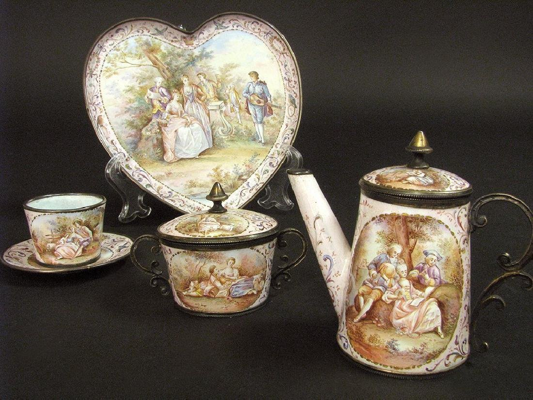 19th C. Viennese Enamel on Silver Miniature Tea Set - 5