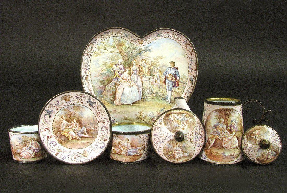 19th C. Viennese Enamel on Silver Miniature Tea Set - 6
