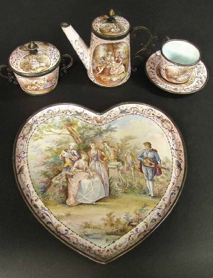 19th C. Viennese Enamel on Silver Miniature Tea Set - 7