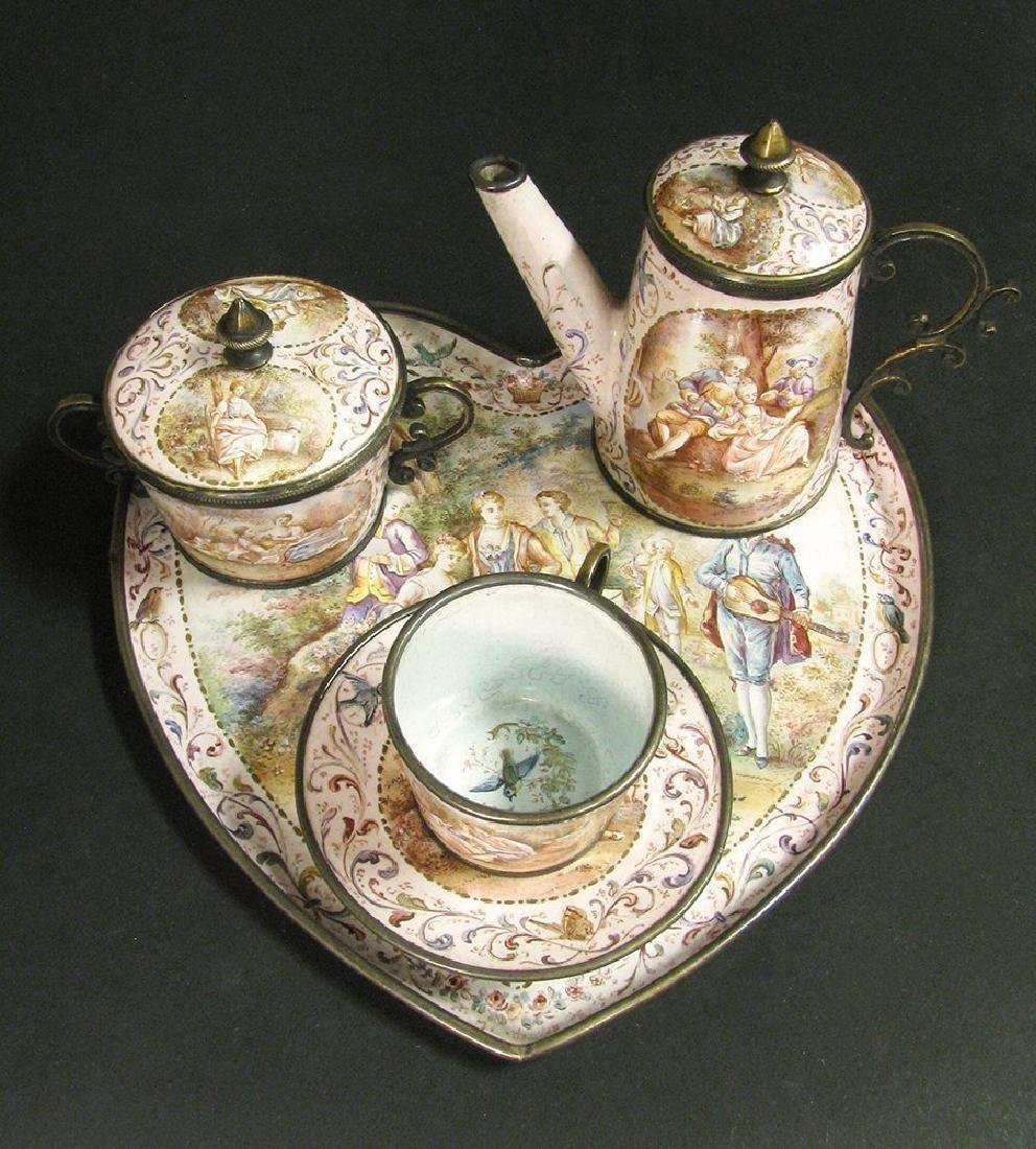 19th C. Viennese Enamel on Silver Miniature Tea Set - 8