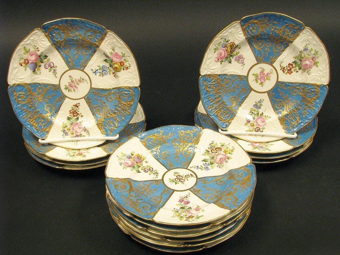 14 Sevres handpainted porcelain plates