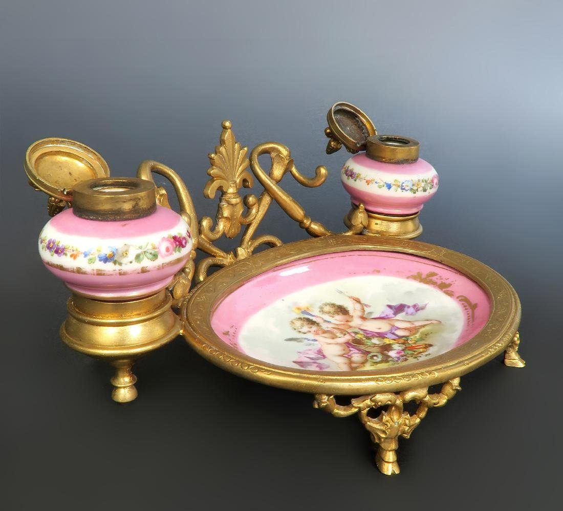 19th C. French Sevres & Bronze Inkwell - 2