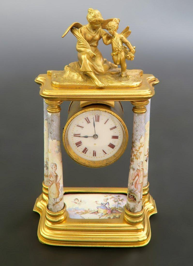 Fine 19th C. Viennese Enamel on Bronze Figural Clock