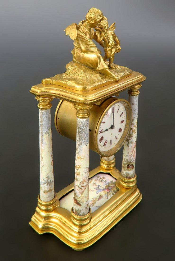 Fine 19th C. Viennese Enamel on Bronze Figural Clock - 2