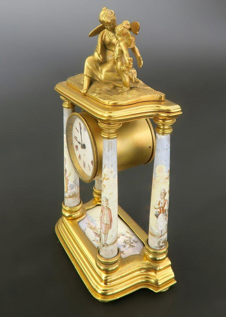 Fine 19th C. Viennese Enamel on Bronze Figural Clock - 4