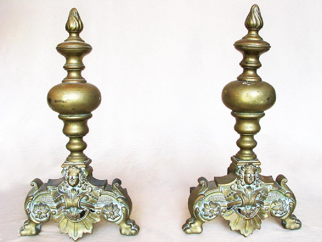 Two Pieces Louis XV Style Bronze Chenet Set