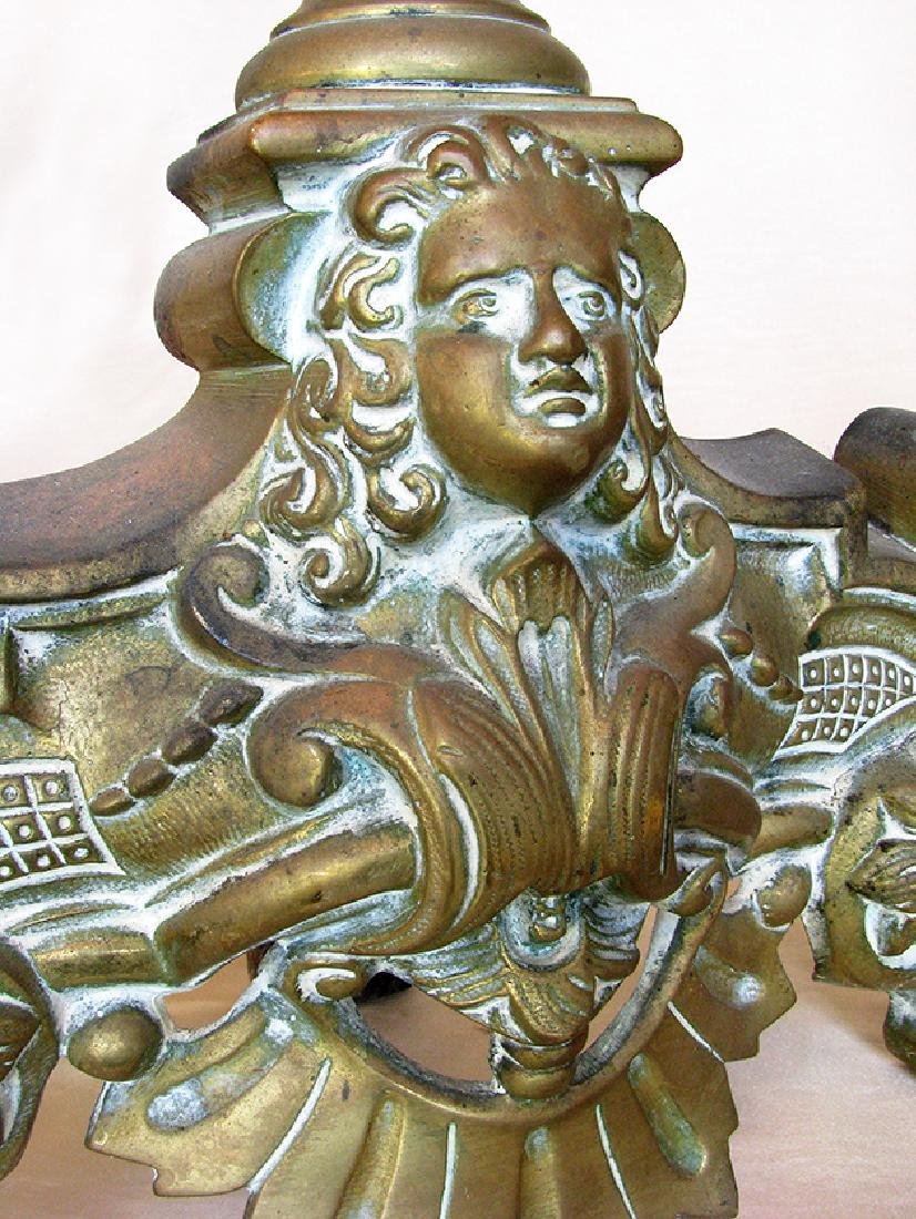 Two Pieces Louis XV Style Bronze Chenet Set - 4