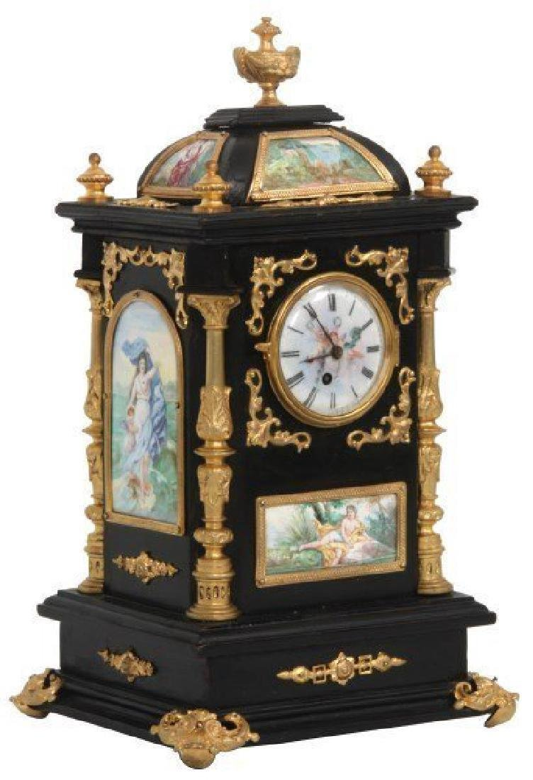 19th C. French Ebonized Desk Clock With Enamel Plaques