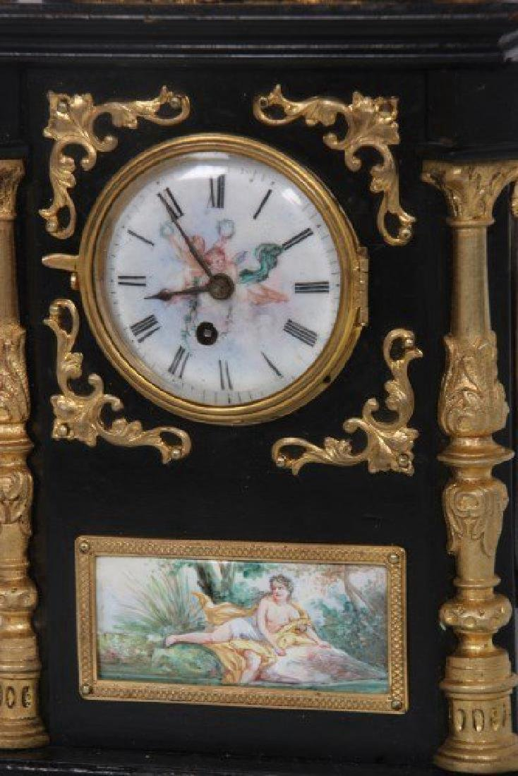 19th C. French Ebonized Desk Clock With Enamel Plaques - 2