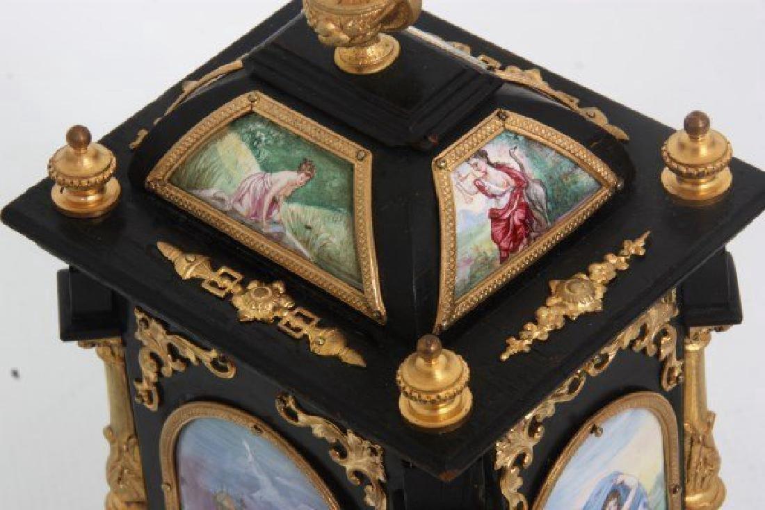 19th C. French Ebonized Desk Clock With Enamel Plaques - 3