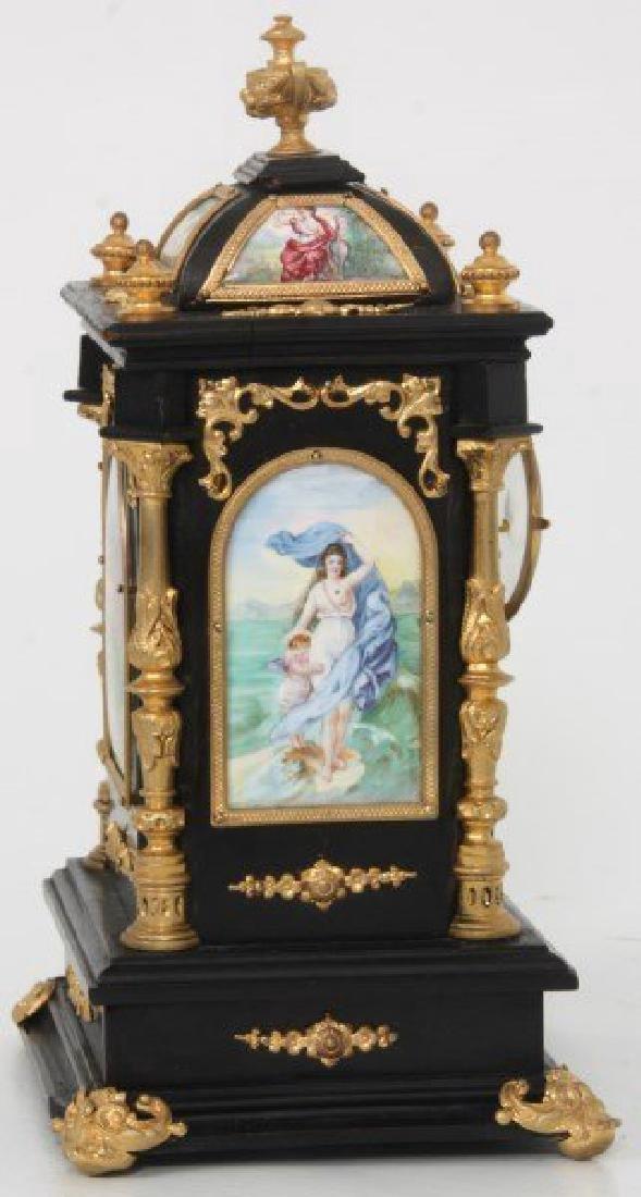 19th C. French Ebonized Desk Clock With Enamel Plaques - 5