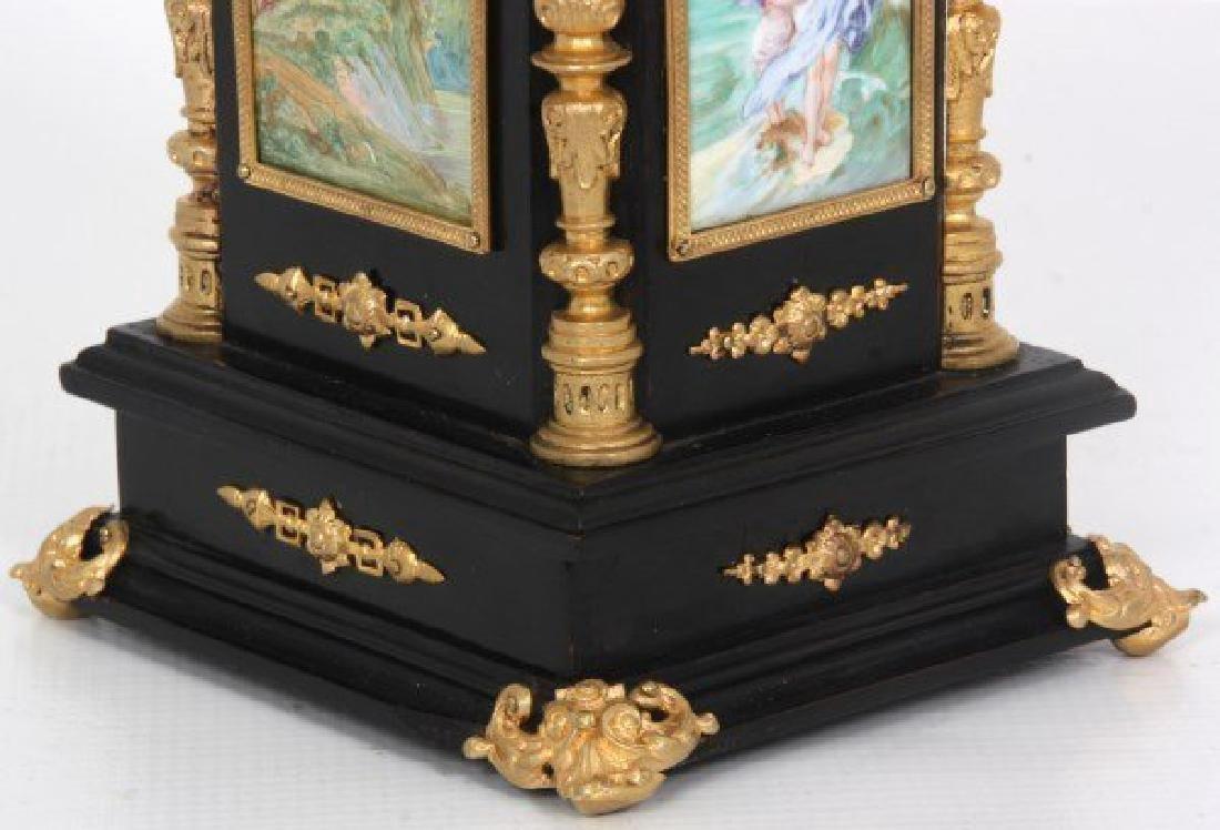 19th C. French Ebonized Desk Clock With Enamel Plaques - 6