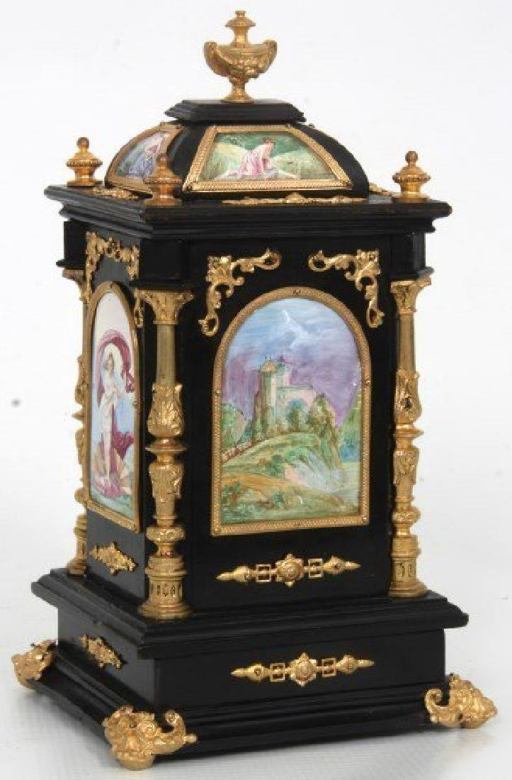 19th C. French Ebonized Desk Clock With Enamel Plaques - 7