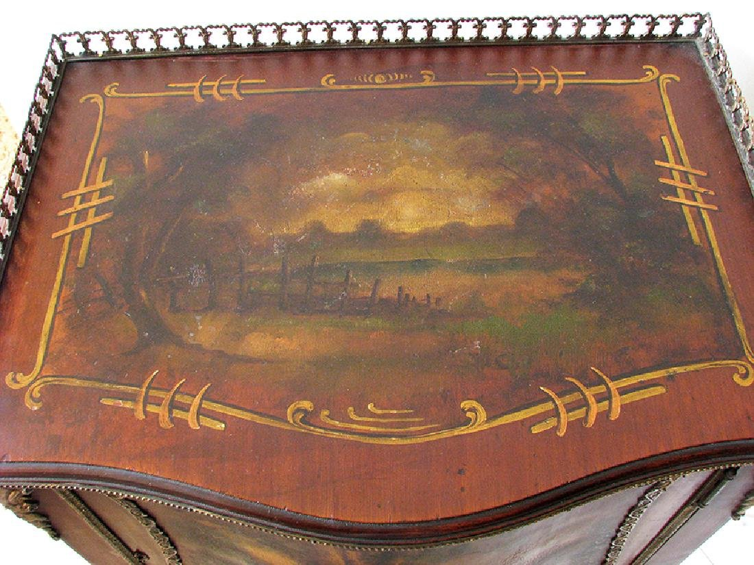 Hand painted Vernis Martin style scenic music cabinet - 6