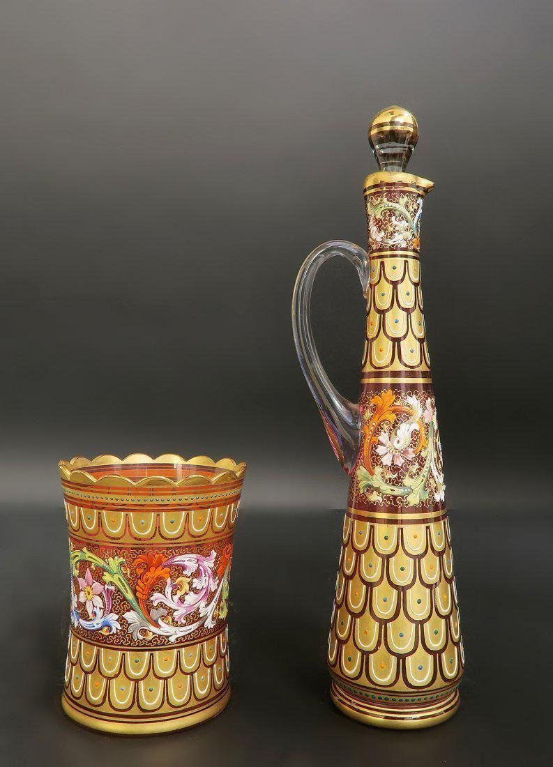 19th C. Enameled Moser Decanter & Glass