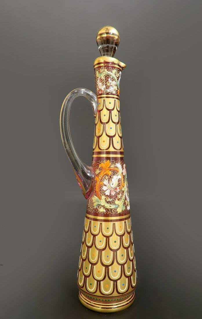 19th C. Enameled Moser Decanter & Glass - 5