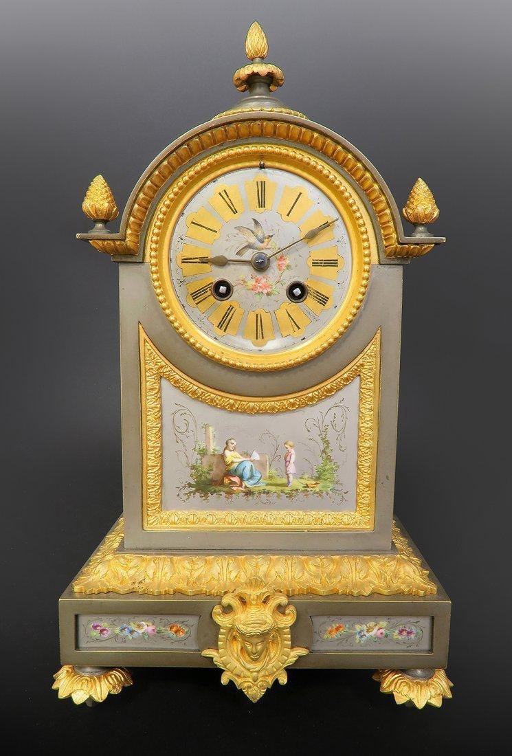 Ormolu Mounted French Porcelain Platinum Ground Clock - 2