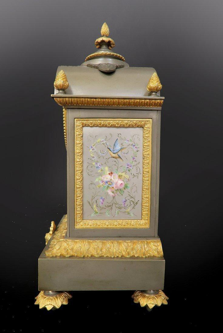 Ormolu Mounted French Porcelain Platinum Ground Clock - 3