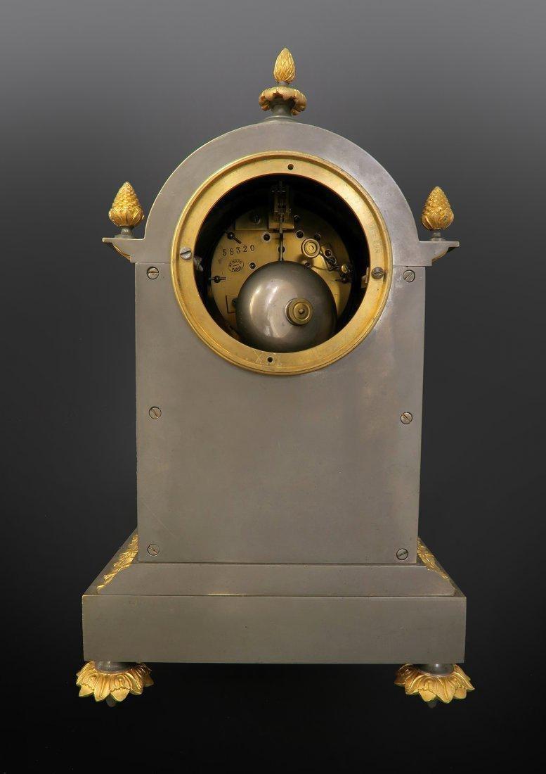 Ormolu Mounted French Porcelain Platinum Ground Clock - 4