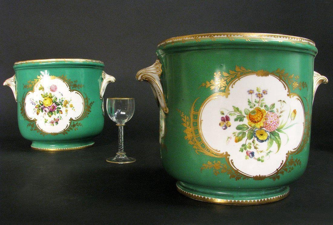Pair of Green-Ground Sevres-Style Wine Cooler - 2