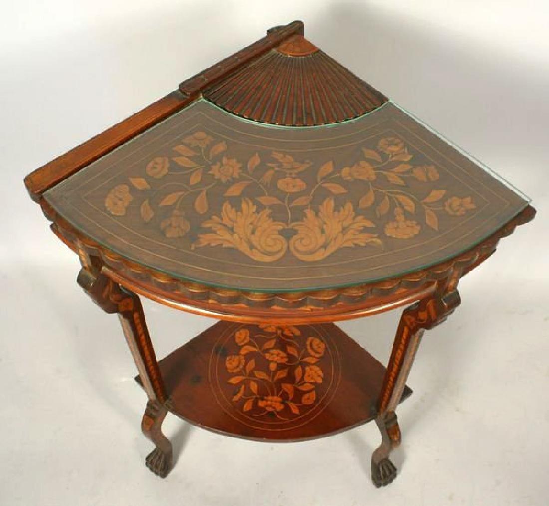19th Century Dutch Marquetry inlaid mahogany fan table - 2
