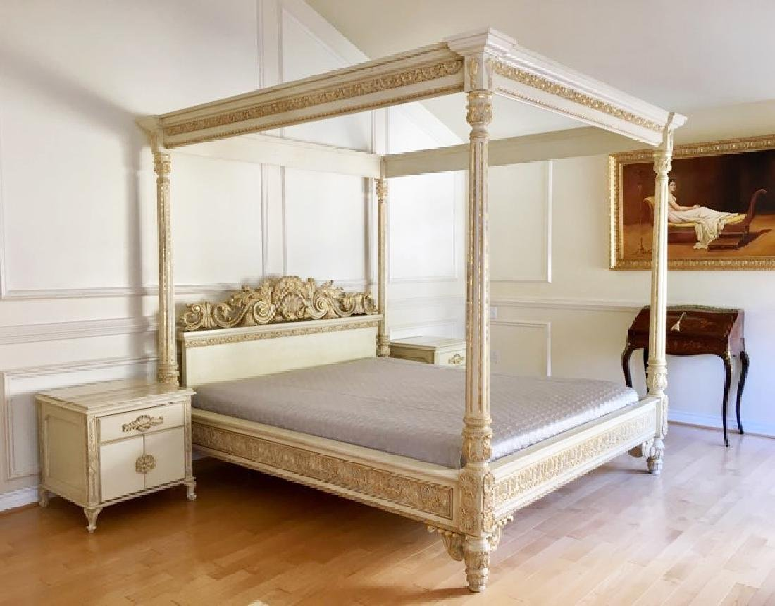 A Hand Carved Bed With 24K Gold Leaf