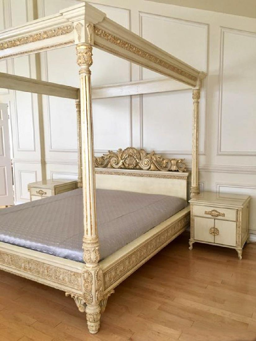 A Hand Carved Bed With 24K Gold Leaf - 2