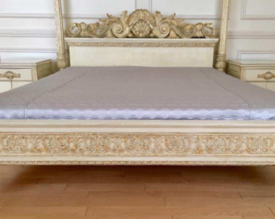 A Hand Carved Bed With 24K Gold Leaf - 3