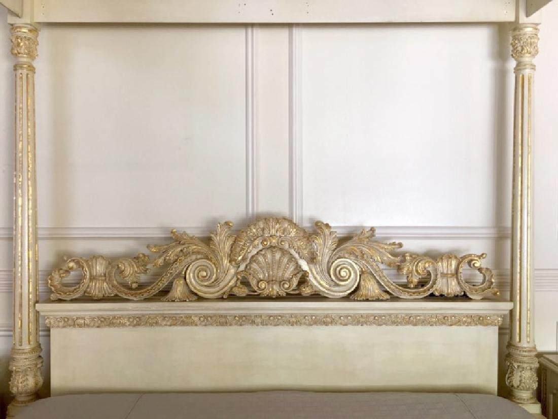 A Hand Carved Bed With 24K Gold Leaf - 4