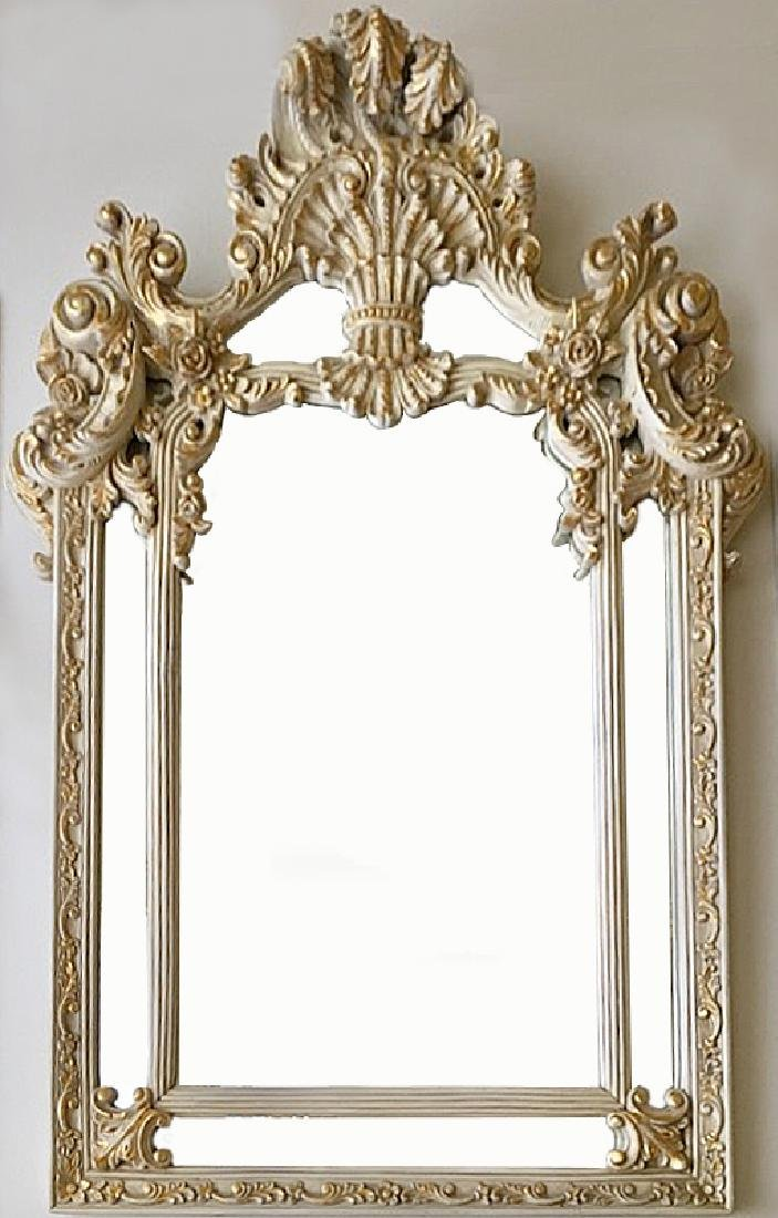 Elegant Mirror with carved flowers and 24K Gold Leaf