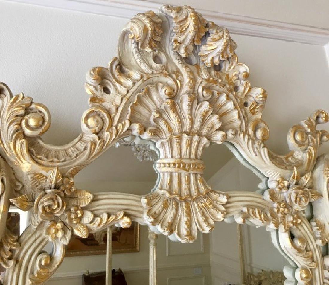 Elegant Mirror with carved flowers and 24K Gold Leaf - 3