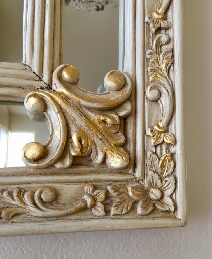 Elegant Mirror with carved flowers and 24K Gold Leaf - 5