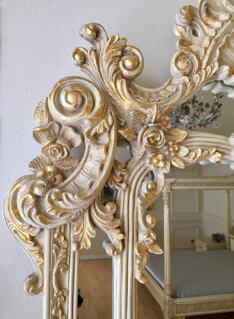 Elegant Mirror with carved flowers and 24K Gold Leaf - 6