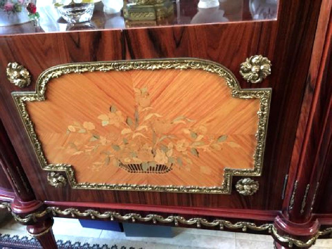 Rosewood Marquetry Dinning Table, Chairs & Vitrine Set - 5