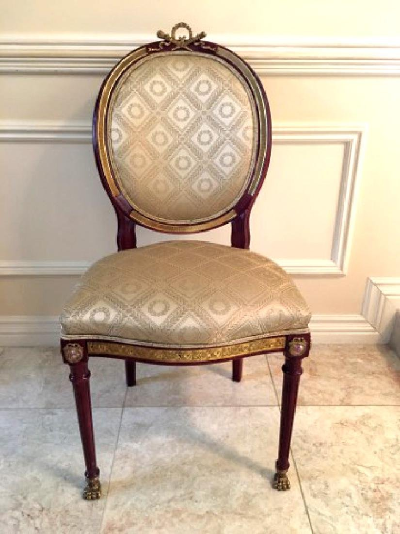 Rosewood Marquetry Dinning Table, Chairs & Vitrine Set - 7