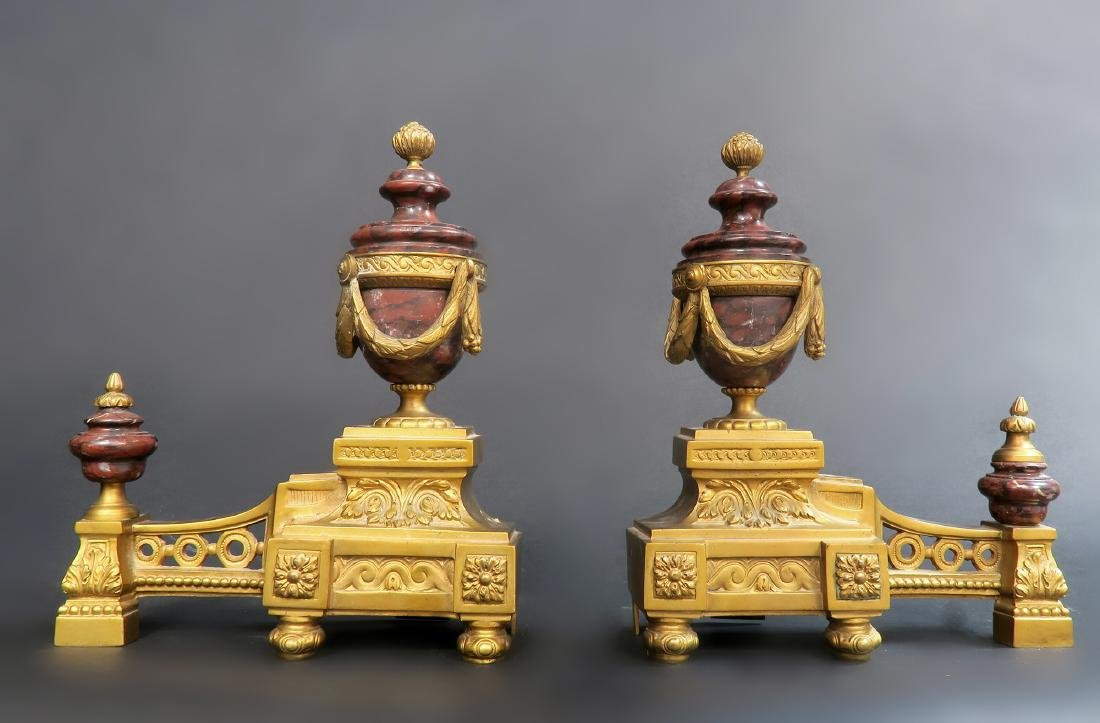 Pair of Rouge Marble & Gilt-bronze Fireplace Chenets