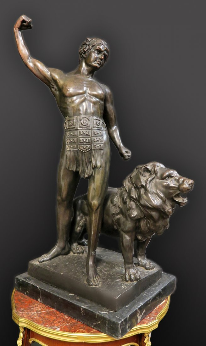 19th C. Large French Bronze Samson & The Lion Sculpture