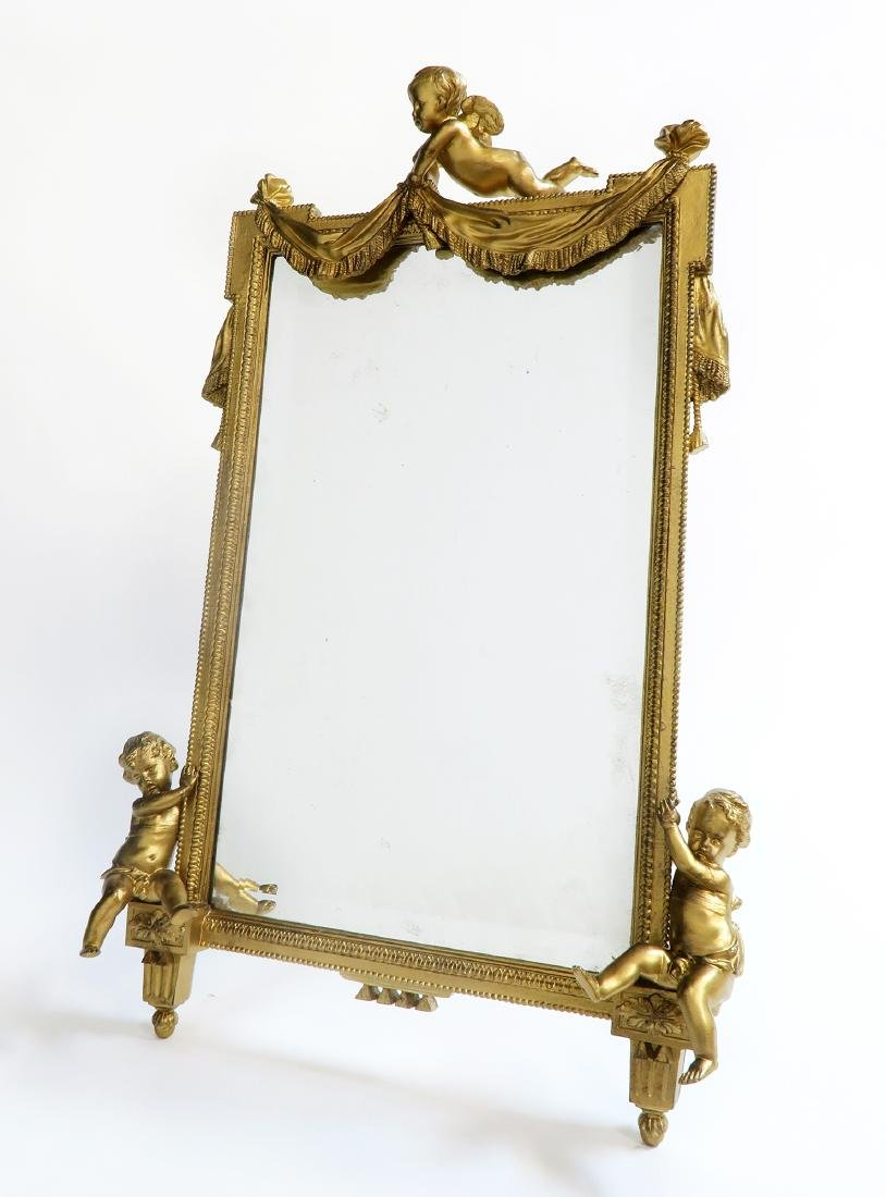Large 19th C. French Figural Bronze Mirror - 2