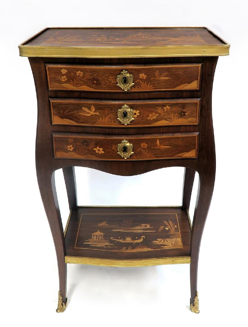 Magnificent French Inlaid Chinoiserie Side Table