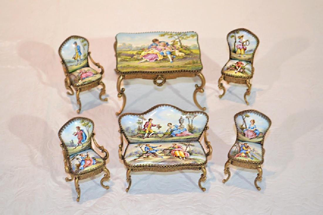 Austrian Enameled 6pcs Salon Set Miniature