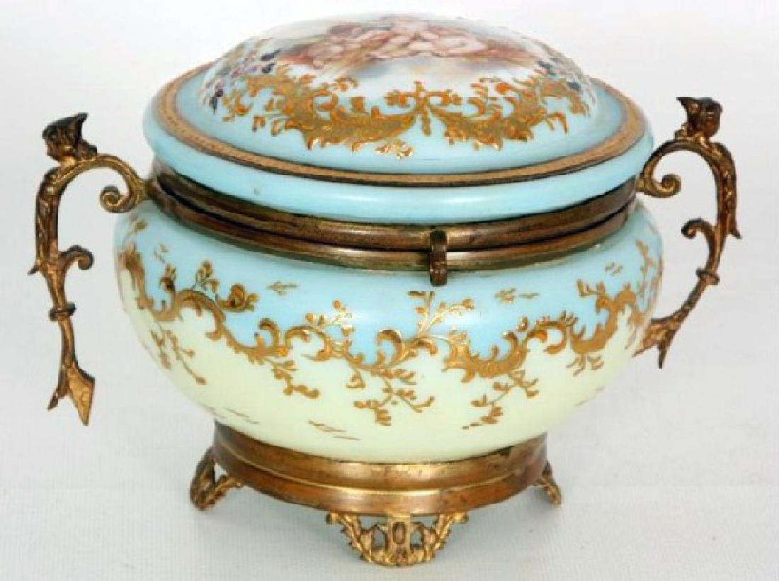 Hinged Opaline Box with Figural Putti
